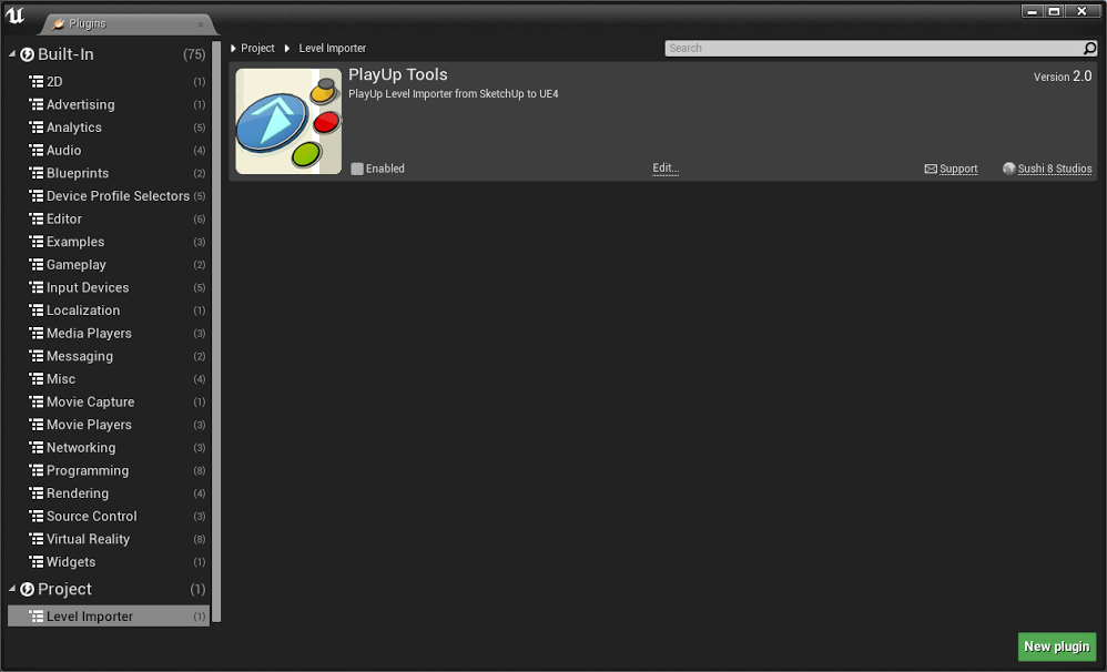 Playup tools making it easy to make worlds sketchup plugin when you are ready to package your project be sure to disable the playup tools plugin for ue4 by going to edit plugins and unchecking the enabled box malvernweather Images